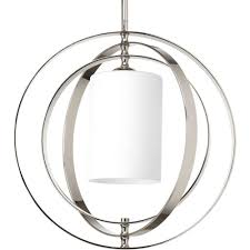 progress lighting equinox 1 light polished nickel pendant with opal etched glass
