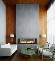 electric fireplace in basement living room contemporary with wood wall white sofa wood accent wall