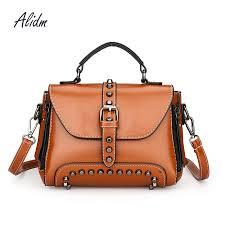 rivet luxury handbags women bags designer women leather handbag high quality leather cross bags for messenger shoulder satchel handbags whole purses