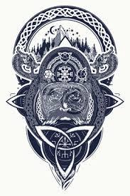 Fototapeta Viking Bojovník A Horské Tetování Severní Bojovník Design Trička