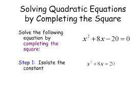 2 solve the following equation by completing the square step 1 isolate the constant