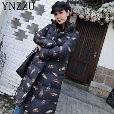 <b>YNZZ</b> Leaves Print Casual Women's Down Jacket 2019 <b>Winter</b> Long ...