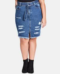 City Chic Trendy <b>Plus Size Cotton Ripped</b> Denim Skirt & Reviews ...