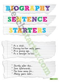 biography sentence starters