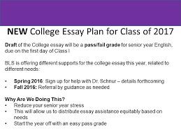 college essay assembly monday ms frank  new college essay plan for class of 2017 draft of the college essay will be a