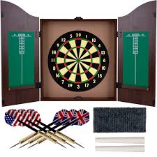 Dart Board Cabinet With Chalkboard Amazoncom Trademark Gameroom Dartboard Cabinet Set With