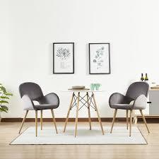 Mcombo 2 X Esszimmerstuhl Küchenstuhl Polsterstuhl Armlehnstuhl Samt Grau