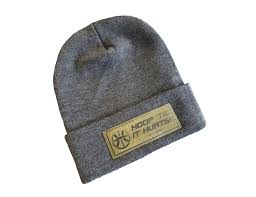 classic hoop knit leather patch beanie