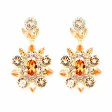 bronze swarovski crystals flower golden chandelier earrings