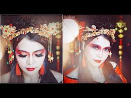 traditional chinese theatre hair makeup tutorial for cosplay fashion photo shoot