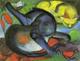 two cats blue and yellow franz marc paintings prints posters framed and unframed two cats blue and yellow prints posters and stretched canvases