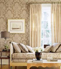 sumptuous living room with beige damask wallpaper
