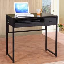 Desk Minimalist Cheap Computer Desk Black Finish Wood Construction Slide  Out Keyboard Tray One Drawer Storage