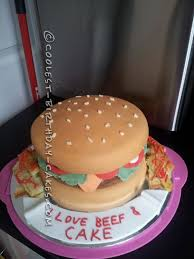 Coolest Homemade Fondant Cheeseburger Birthday Cake And Fries