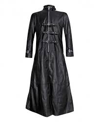 black gothic leather trench coat with buckle fastenings