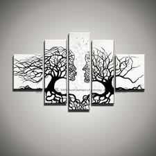 5 piece picture canvas wall art black white painting art modern abstract kiss tree landscape oil painting for living room large in painting calligraphy  on cheap black and white canvas wall art with 5 piece picture canvas wall art black white painting art modern