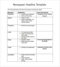 Newspaper Story Template Newspaper Headline Sample 6 Documents In Pdf Word