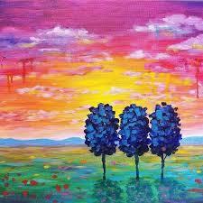beginner landscape painting easy sunset landscape drip trees live beginner acrylic painting tutorial by on beginning beginner landscape painting