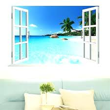 beach wall decals effect fake window stickers home decor living room coconut sea scenery mural art in from garden deco