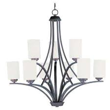 deven 9 light oil rubbed bronze chandelier with satin white shade