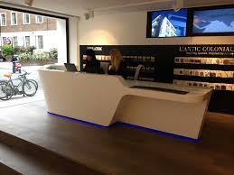 Mono Desk by isomi installed at Porcelanosa showroom - Goswell Road,  Clerkenwell, London