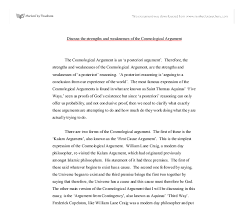 discuss the strengths and weaknesses of the cosmological argument document image preview