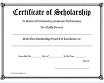 scholarship templates free printable certificate of scholarship awards blank templates