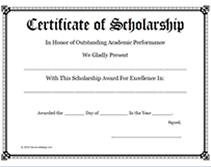 scholarship templates free printable certificate of scholarship awards blank templates
