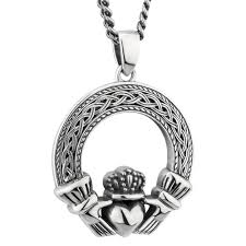 mens irish jewelry sterling silver celtic claddagh pendant