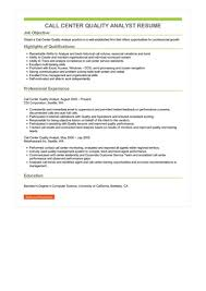 Call Center Quality Analyst Resume Great Sample Resume