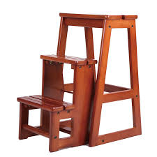 modern multi functional three step library ladder chair library furniture folding wooden stool chair step ladder for home in library furniture from