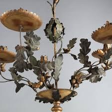 italian 19th century painted tole oak leaf chandelier
