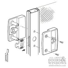 sliding patio screen door latch and pull with hook assortment