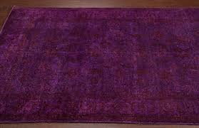 rugsville traditional overdyed purple wool rug 35004