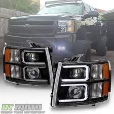 Black 2007 2013 Chevy Silverado Optic Led Projector Headlights Left Right 07 13 Ebay Chevy Silverado 2013 Chevy Silverado 2008 Chevy Silverado