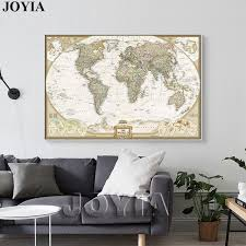 world map painting canvas prints large wall art europe vintage earth maps picture poster living room on large wall art picture frames with world map painting canvas prints large wall art europe vintage earth