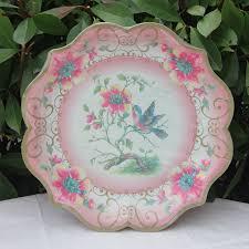 Pink Flower Paper Plates 12pcs Lot New Design Vintage Large Paper Plates Blue Yellow Green