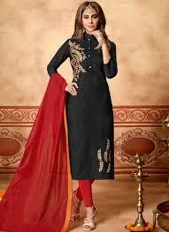 Cotton Churidar Dress Design Patterns Black Cotton Festival Churidar Designer Suit