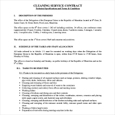 Sample Cleaning Contract Agreement Cleaning Service Agreement Cleaning Service Agreement Template
