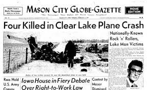 buddy holly plane crash newspaper article. Mason City Iowa GlobeGazette February 1959 Intended Buddy Holly Plane Crash Newspaper Article
