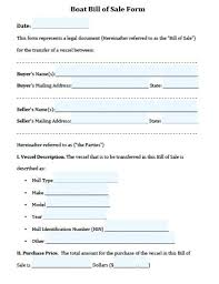 Sample Boat Bill Of Sale Inspiration Free Printable Bill Of Sale Form 44 SearchExecutive