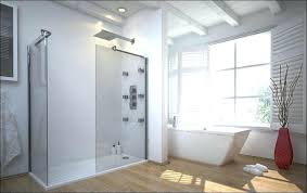 large walk in shower with transpa glass panels and no door wood floors white bathtub size large walk in shower no