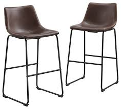 faux leather bar stools set of 2 brown