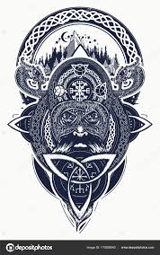 Viking Válečník Hory Tetování Severní Válečník Tričko Design Keltský