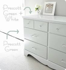 painting furniture whiteDrawers are Benjamin Moore Prescott Green Top sides and frame