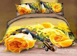 72 3d yellow roses and violin printed cotton 4 piece bedding sets duvet cover
