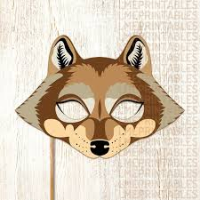 Mask Templates For Adults Awesome Wolf Mask Printable Brown Animal Masks Big Bad Wolf Childrens Etsy