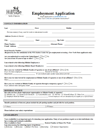 form for job hillside job applications form free job application form