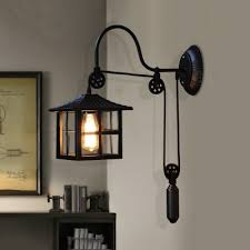 pulley square shade single wall sconce
