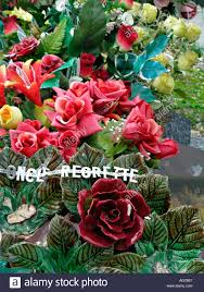 Grave Decoration Artificial Flowers As Grave Decoration Stock Photo Royalty Free